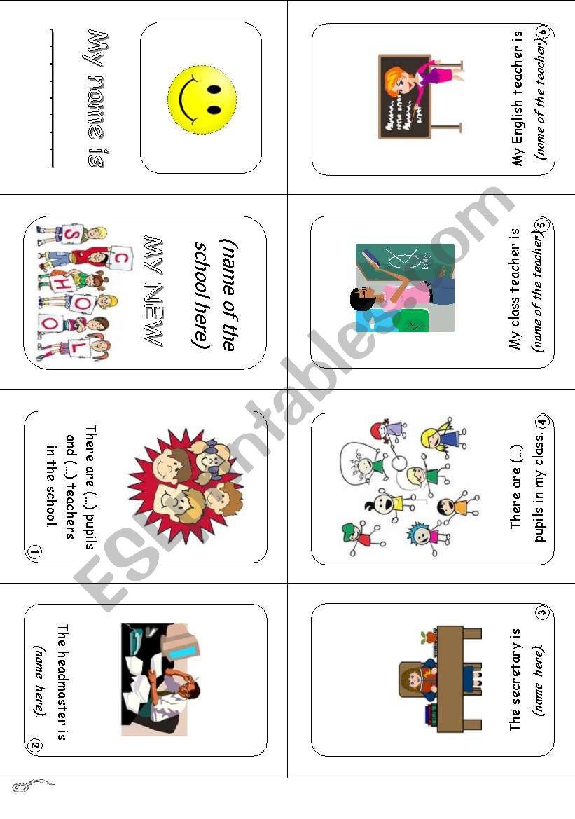 Minibook MY NEW SCHOOL worksheet