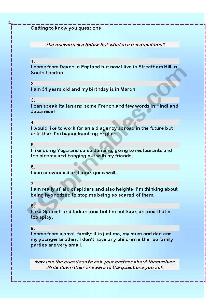 Getting To Know You Questions Esl Worksheet By Laura44