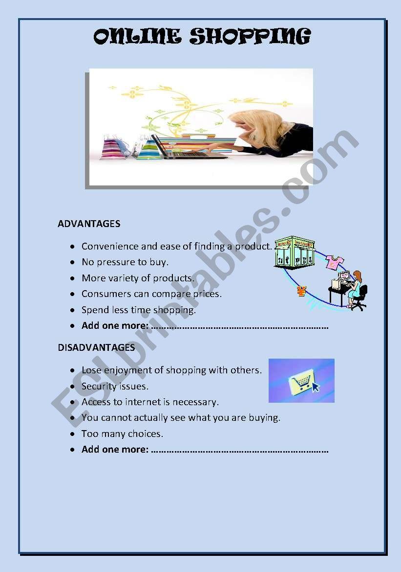 ONLINE SHOPPING worksheet