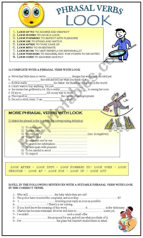 PHRASAL VERBS: LOOK worksheet