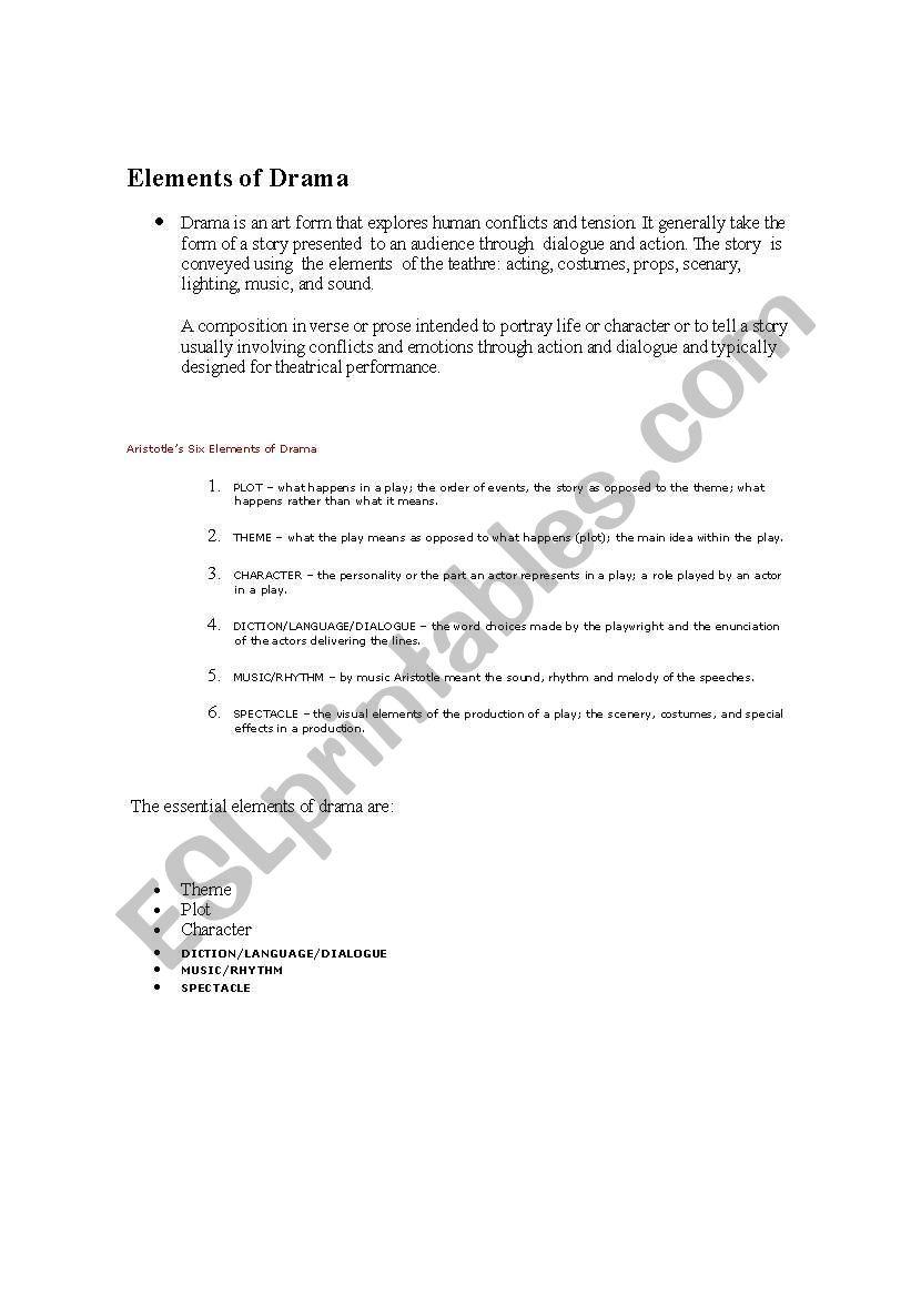 English Worksheets Elements Of Drama