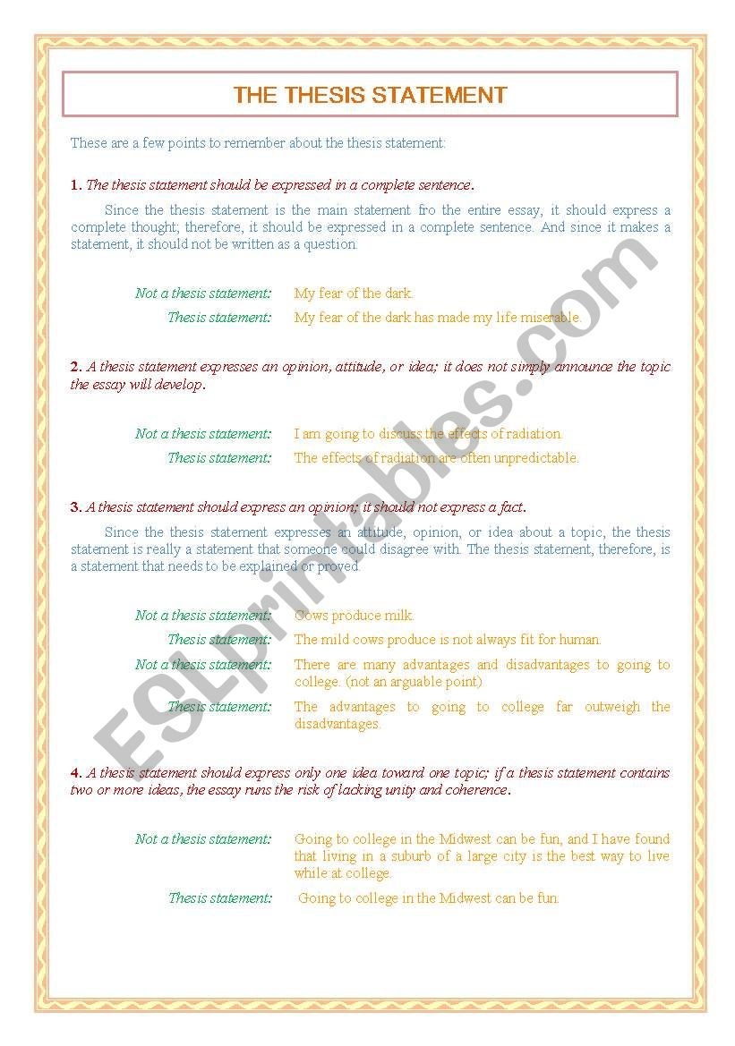 Thesis statement exercises worksheets