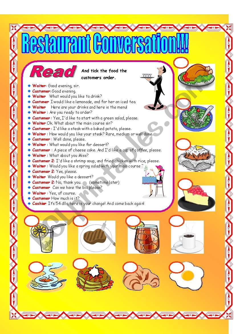 Restaurant Conversation! worksheet