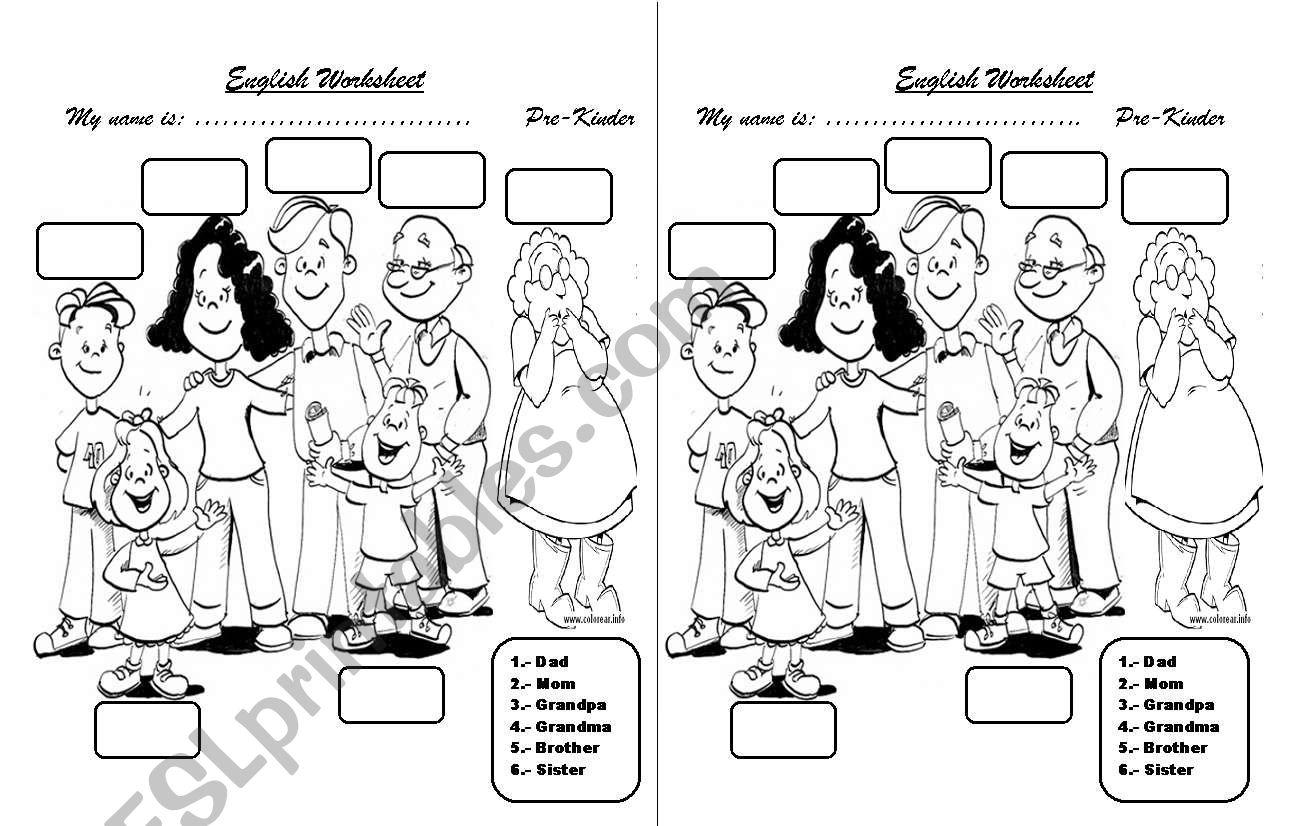 Family members worksheet worksheet