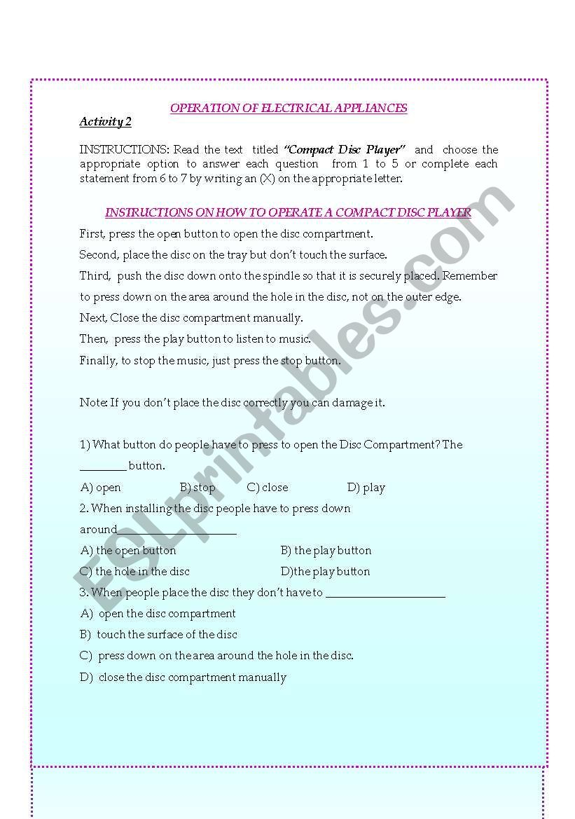 Instructions and Directions to Operate Electrical Appliances 2