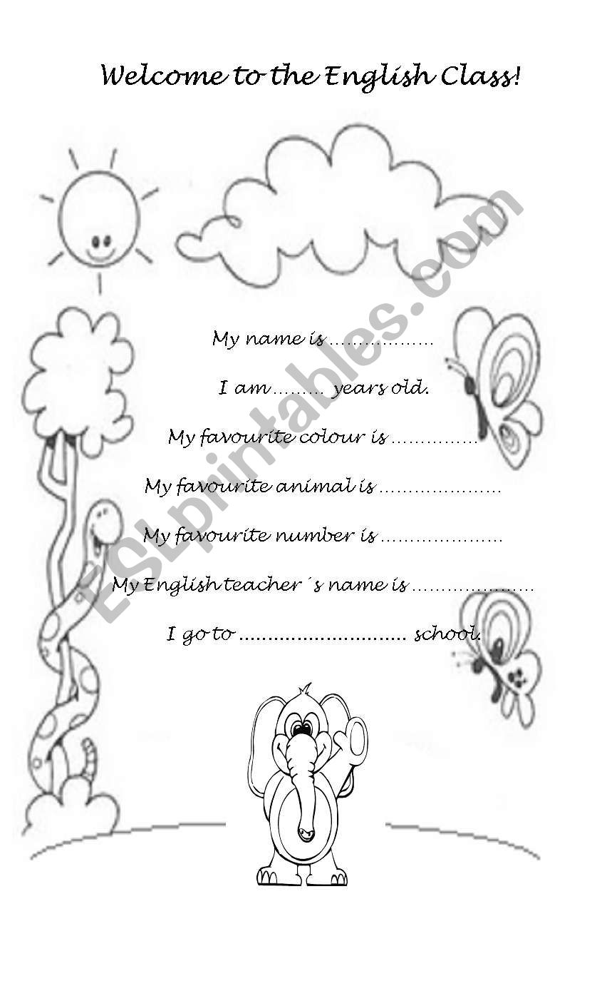 Welcome to the English Class! worksheet