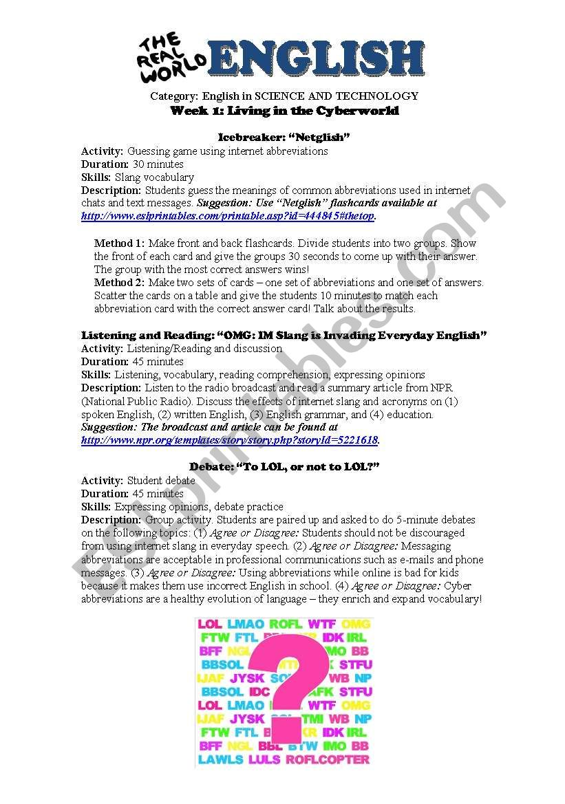 science and technology living in the cyberworld esl worksheet by goingupenglish. Black Bedroom Furniture Sets. Home Design Ideas