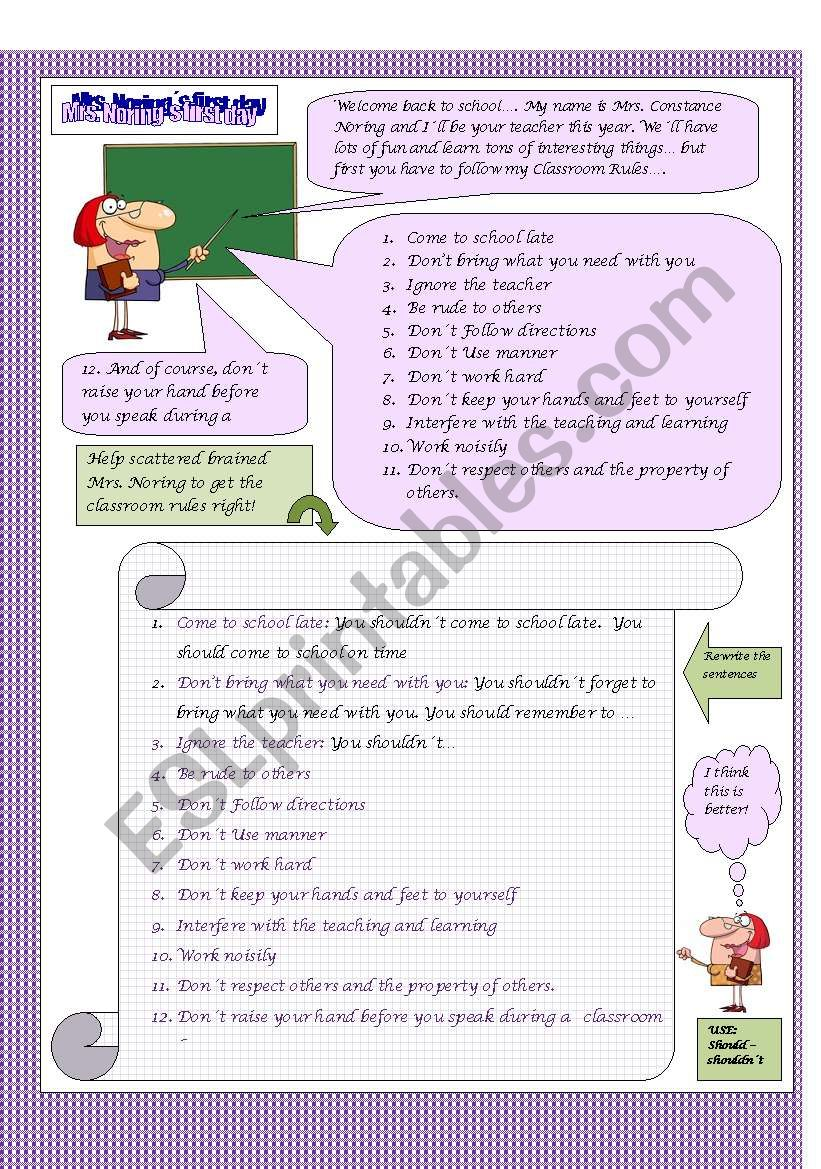 Mrs. Noring´s first day! worksheet