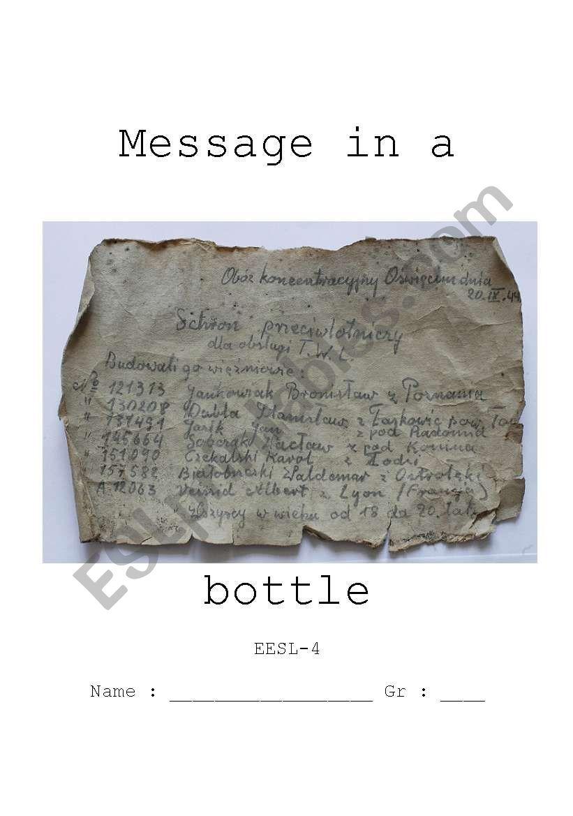 Message in a bottle worksheet