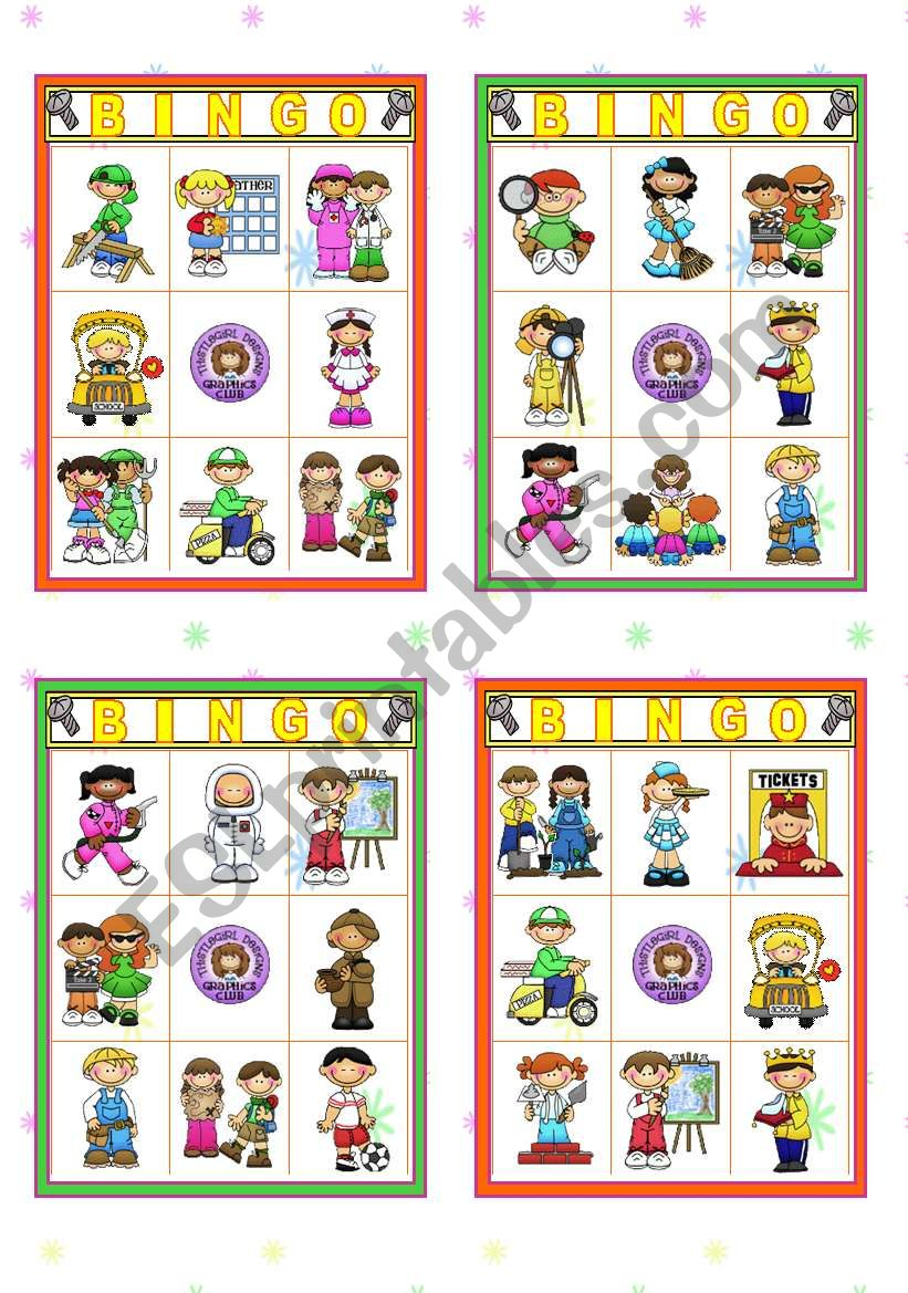 Jobs and Occupations Set   -   16 Bingo Cards (all different)