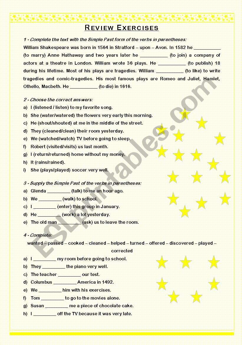 Review Exercises - Simple Past (regular)