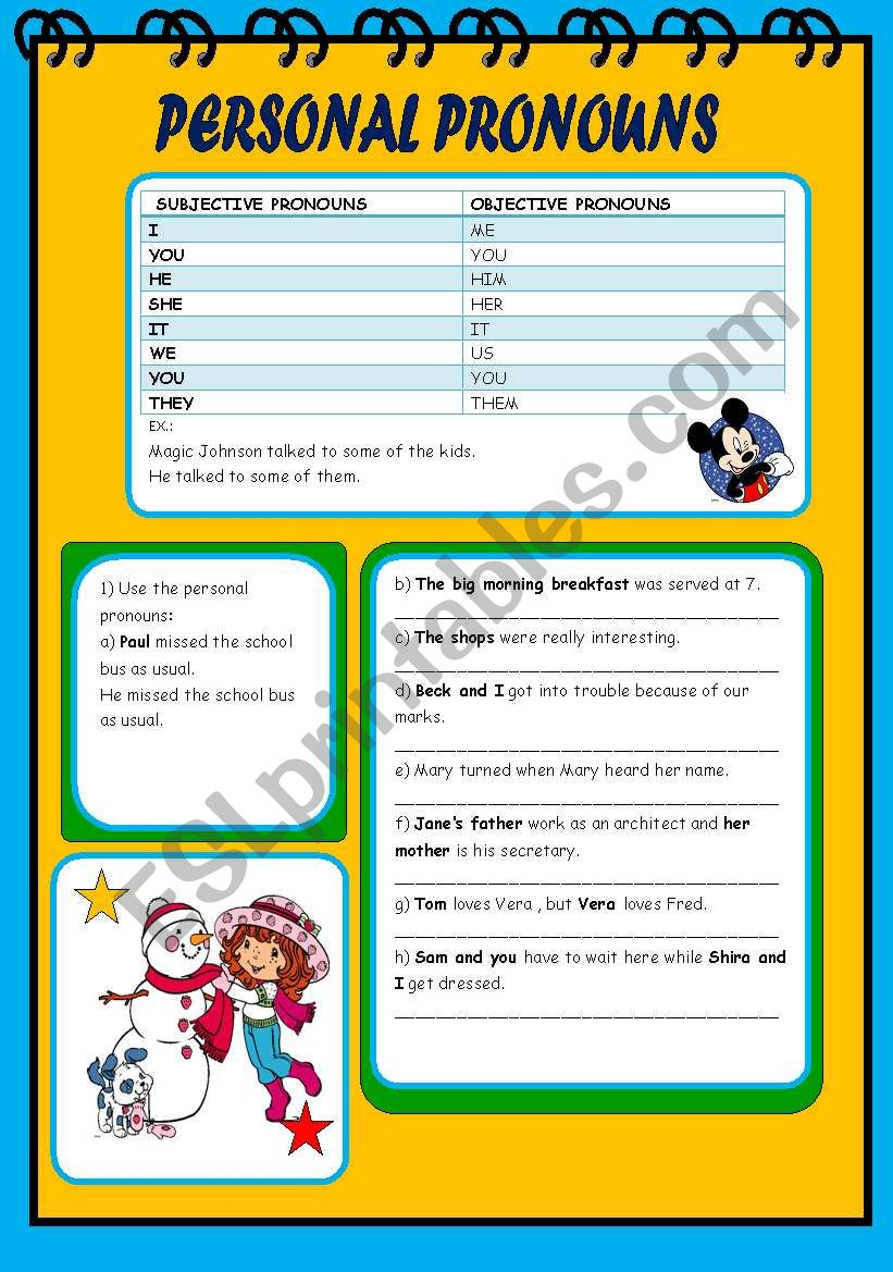 Pronouns worksheet