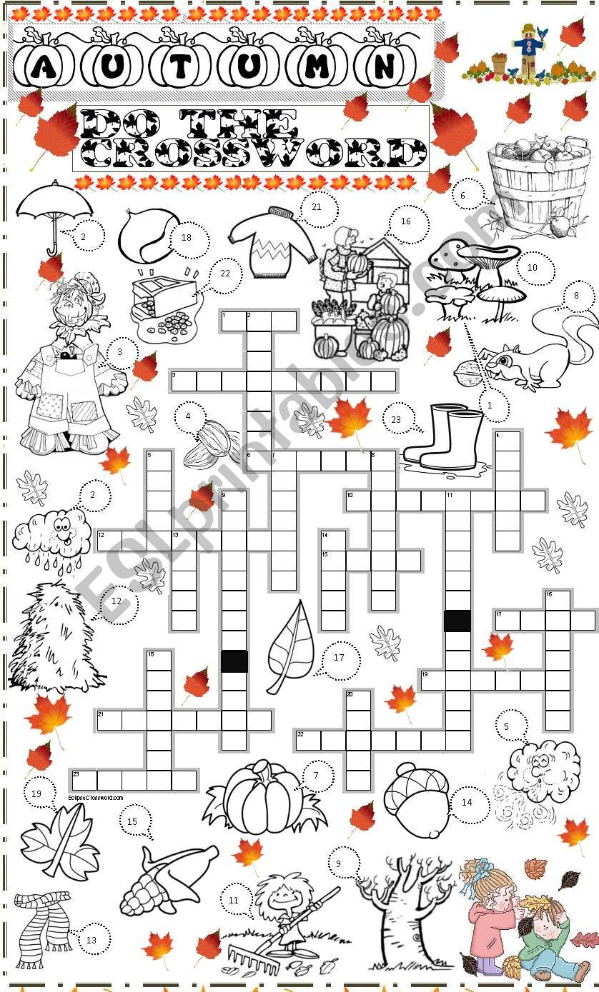 autumn crossoword worksheet