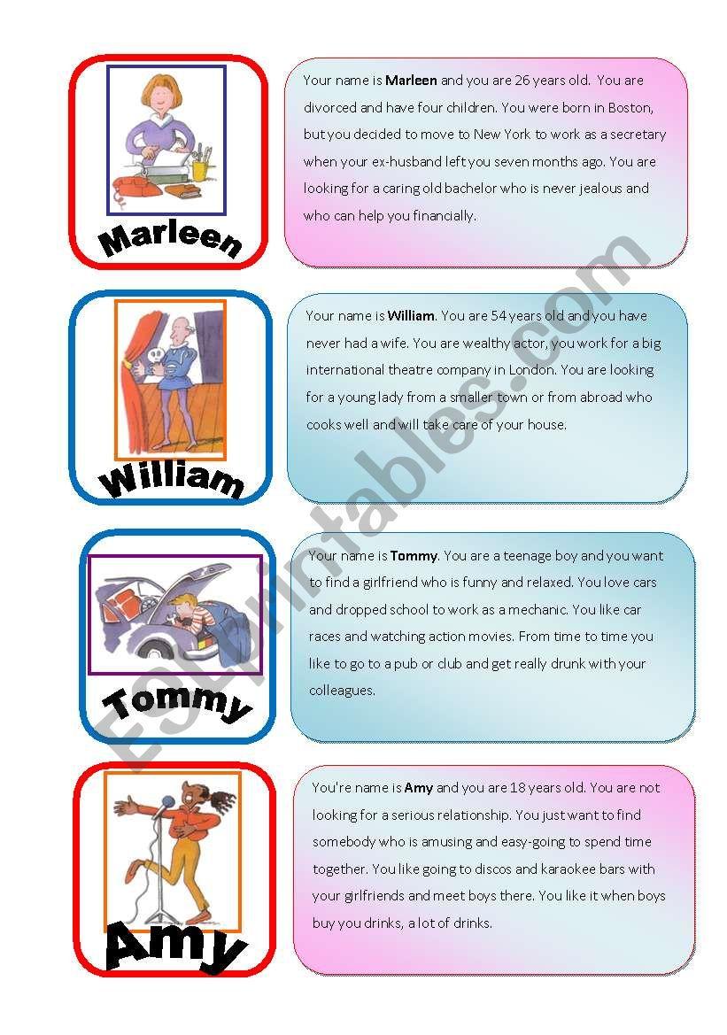 Speed Dating Roleplay Card Game part 1/6 - ESL worksheet by julivan