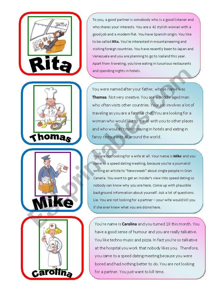 Speed Dating Roleplay Card Game part 3/6 - ESL worksheet