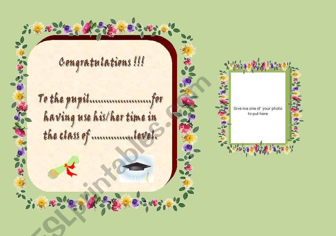 Congratulations worksheet