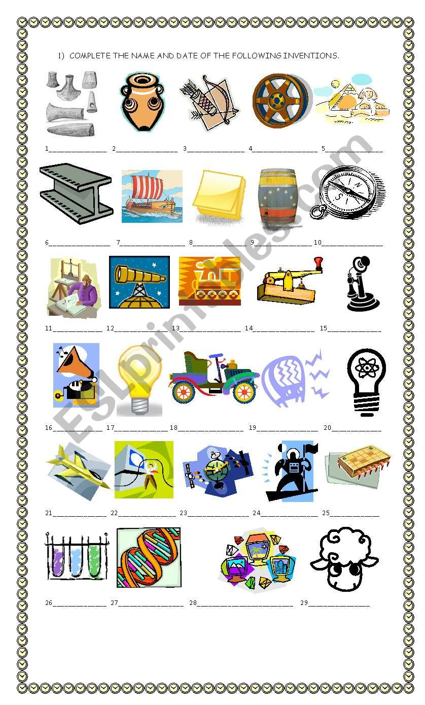 inventions and discoveries esl worksheet by claudiafer. Black Bedroom Furniture Sets. Home Design Ideas