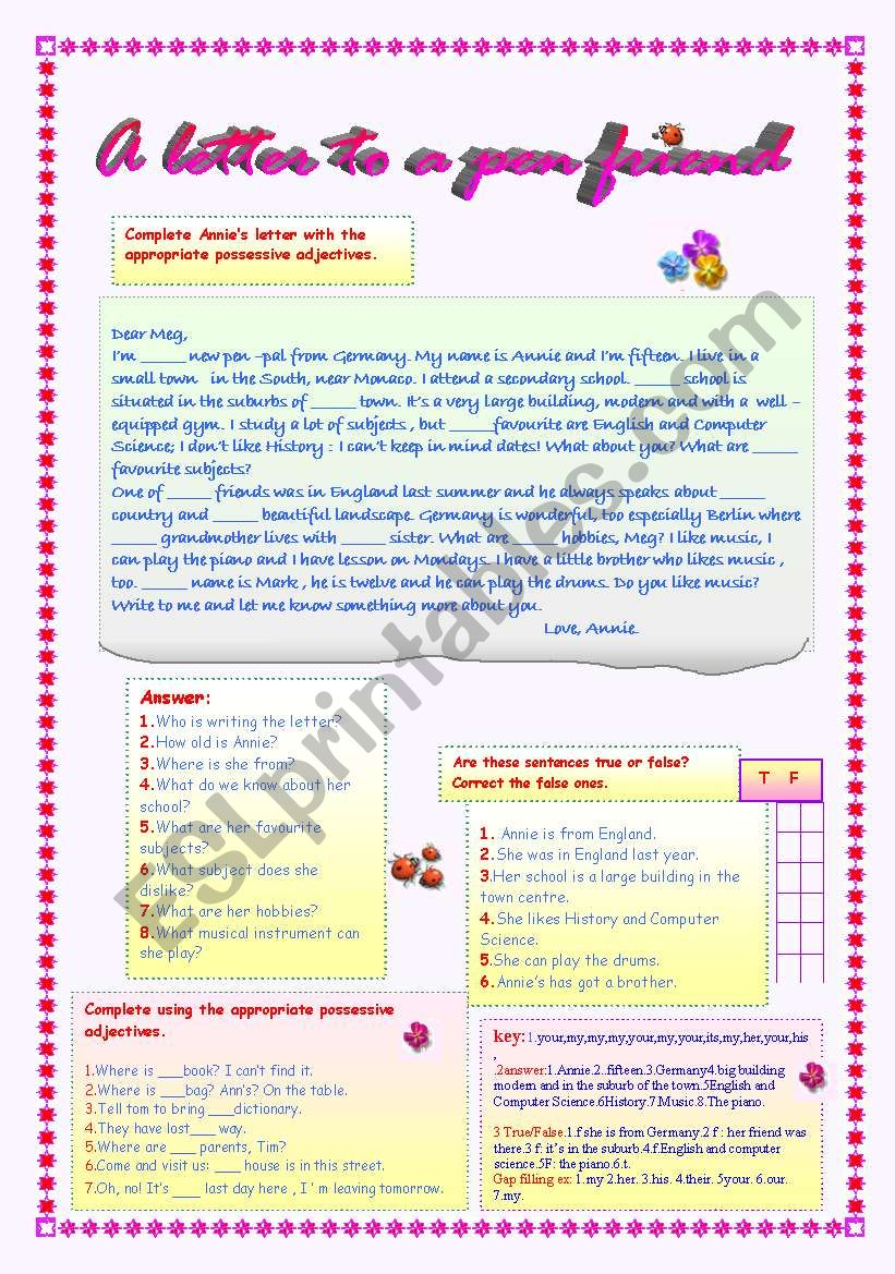 A LETTER TO A PEN FRIEND - ESL worksheet by LUCETTA06