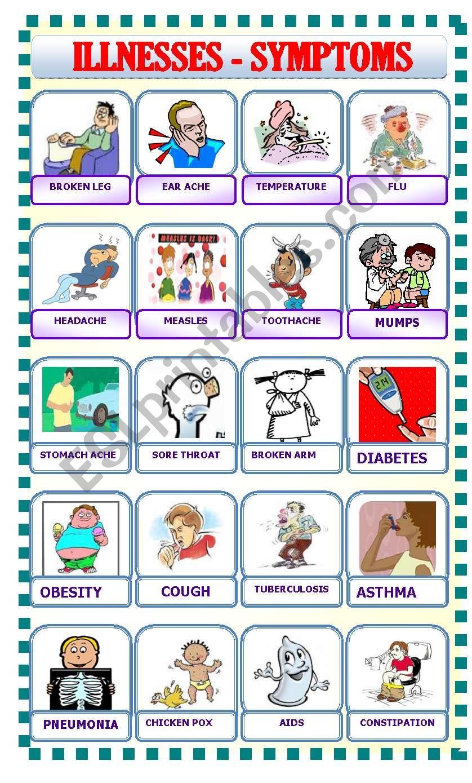 ILLNESSES/SYMPTOMS - ESL worksheet by ascincoquinas