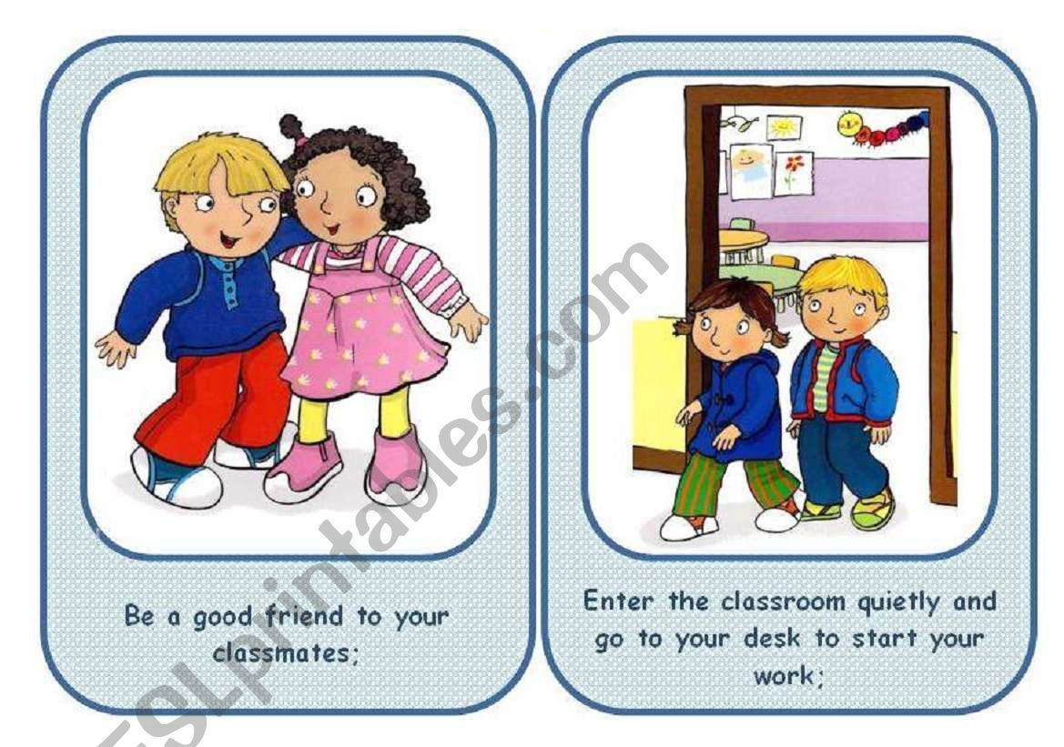 CLASSROOM RULES - flashcards set (3/3 ws)