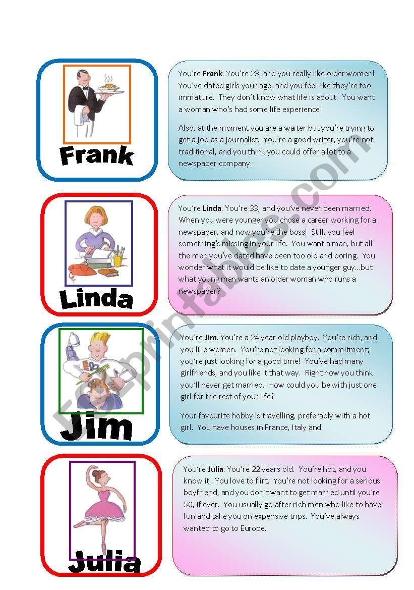 Speed Dating Roleplay Card Game part 5/6 - ESL worksheet by julivan
