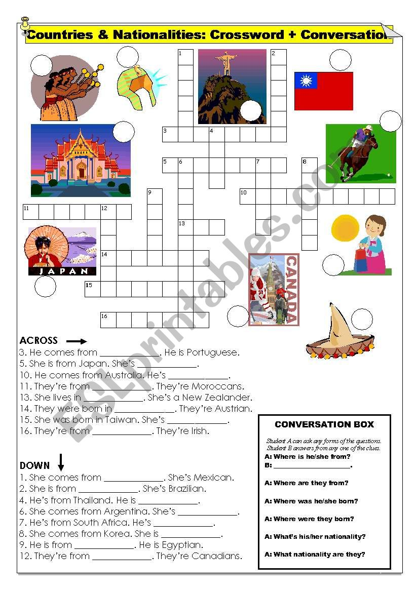 Countries & Nationalities - Crossword with Conversation