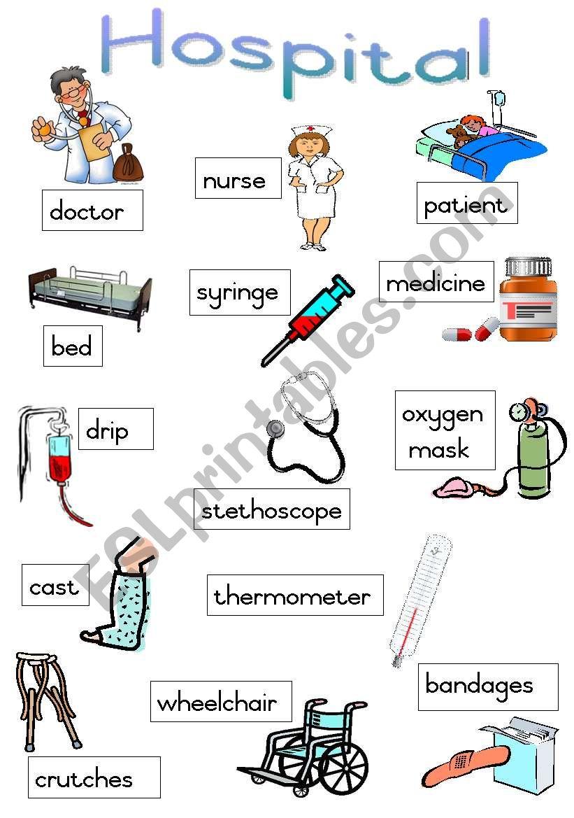 Hospital - Poster worksheet