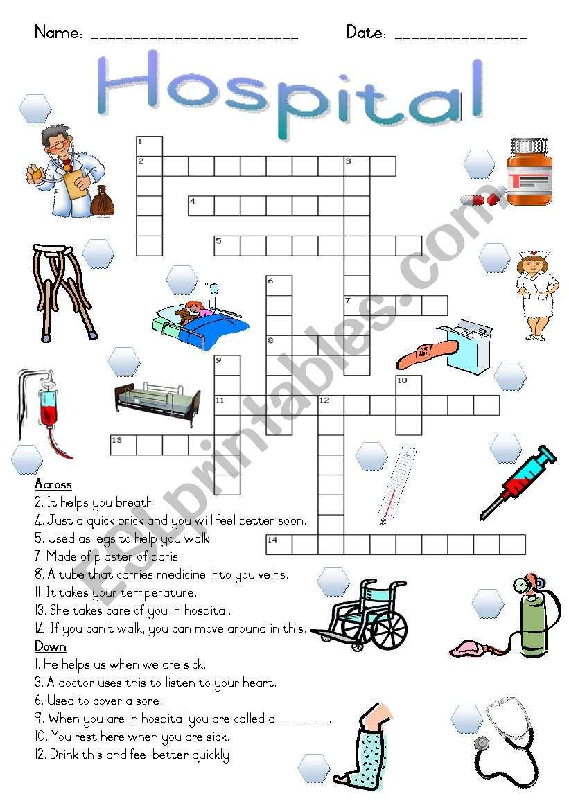 Hospital Crossword Puzzle worksheet