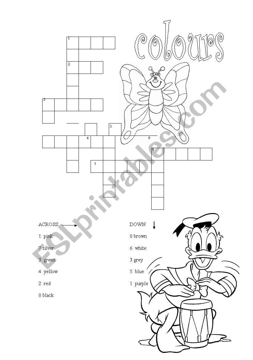 colours crossword worksheet