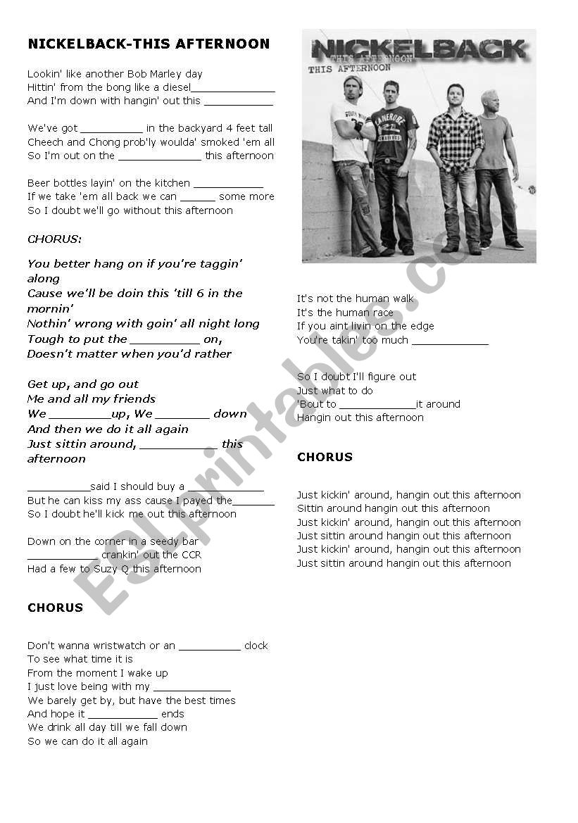 Nickelback This Afternoon Crossword And Song Sheet