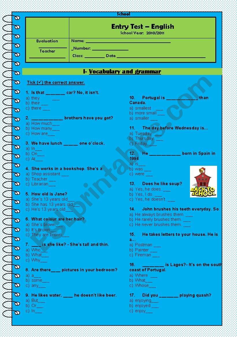 Entry test - 8th form worksheet