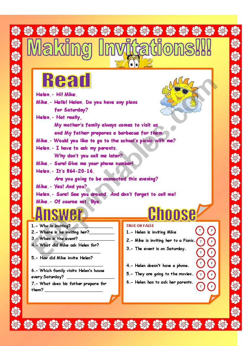 Making Invitations! worksheet
