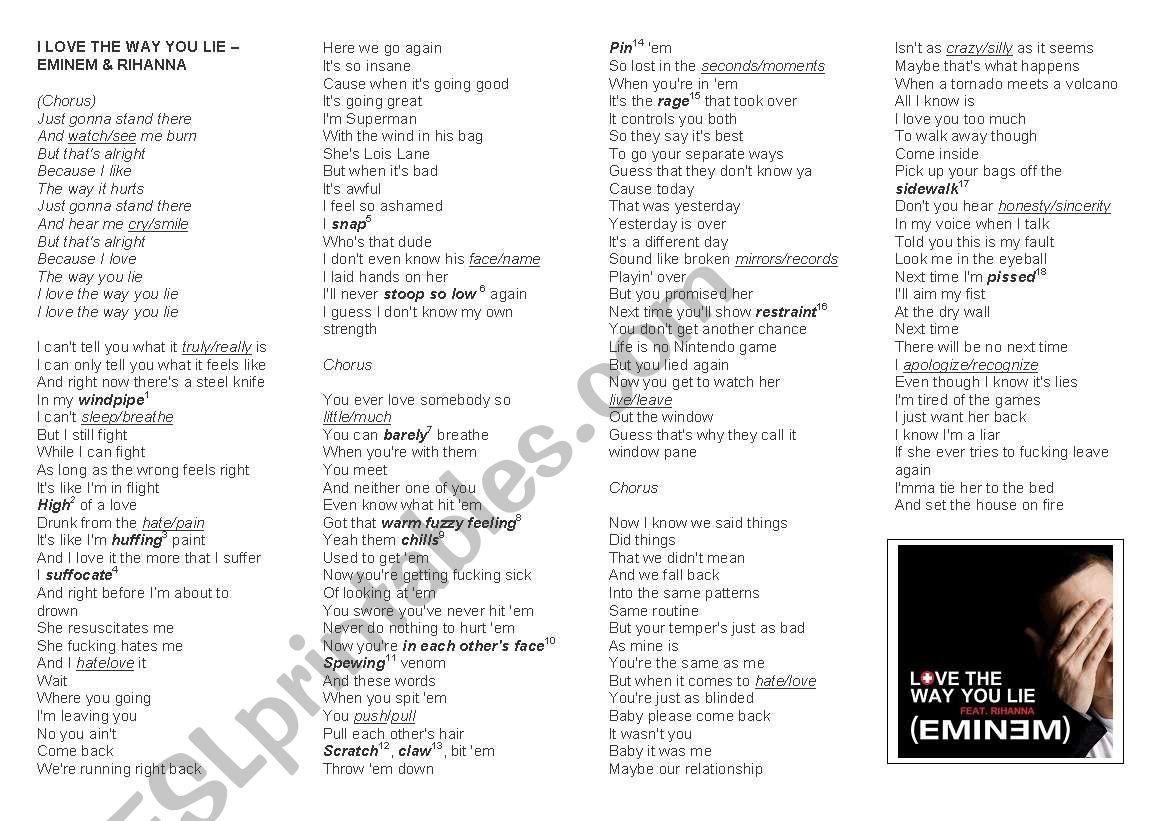 I love the way you lie - Eminem and Rihanna