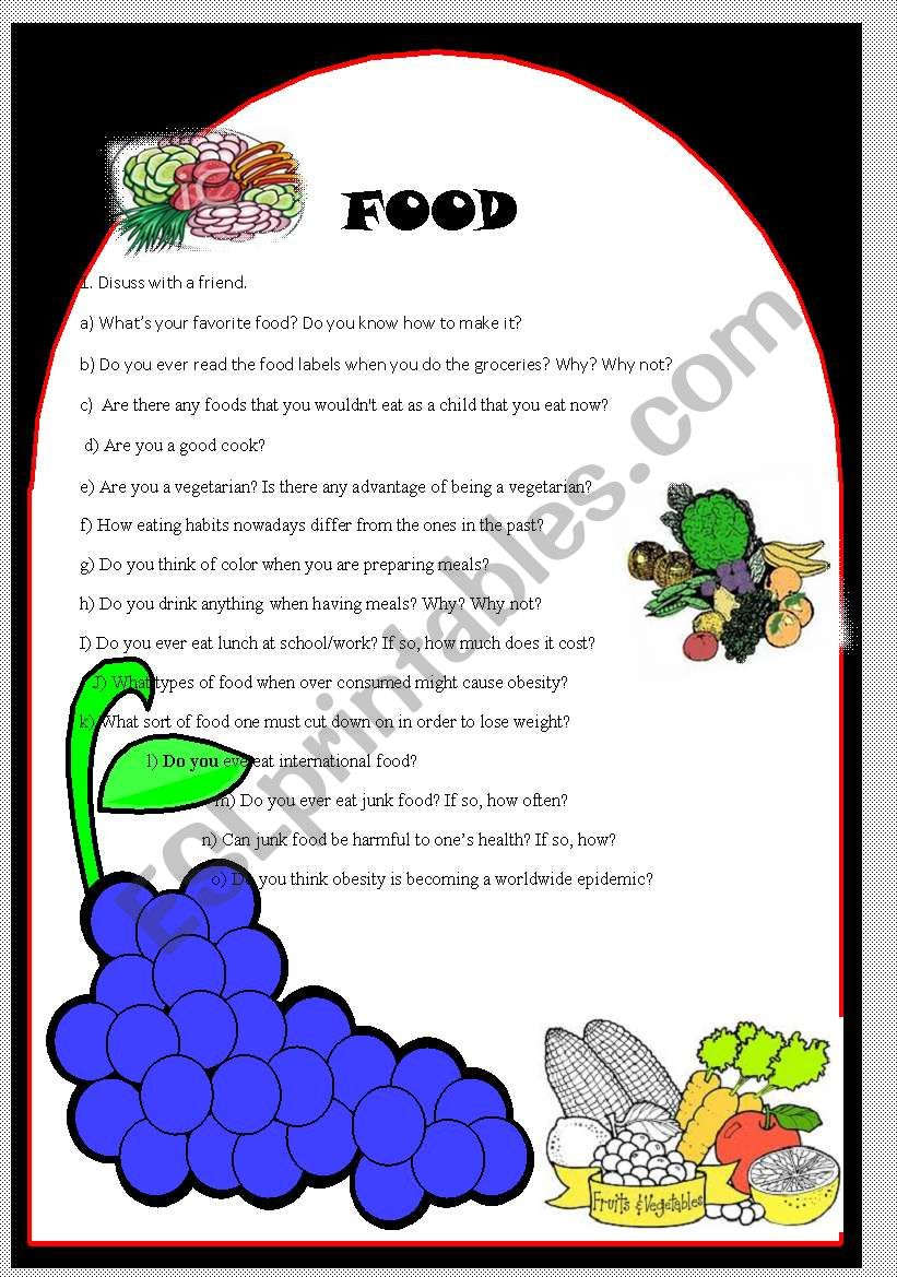discussion about food worksheet