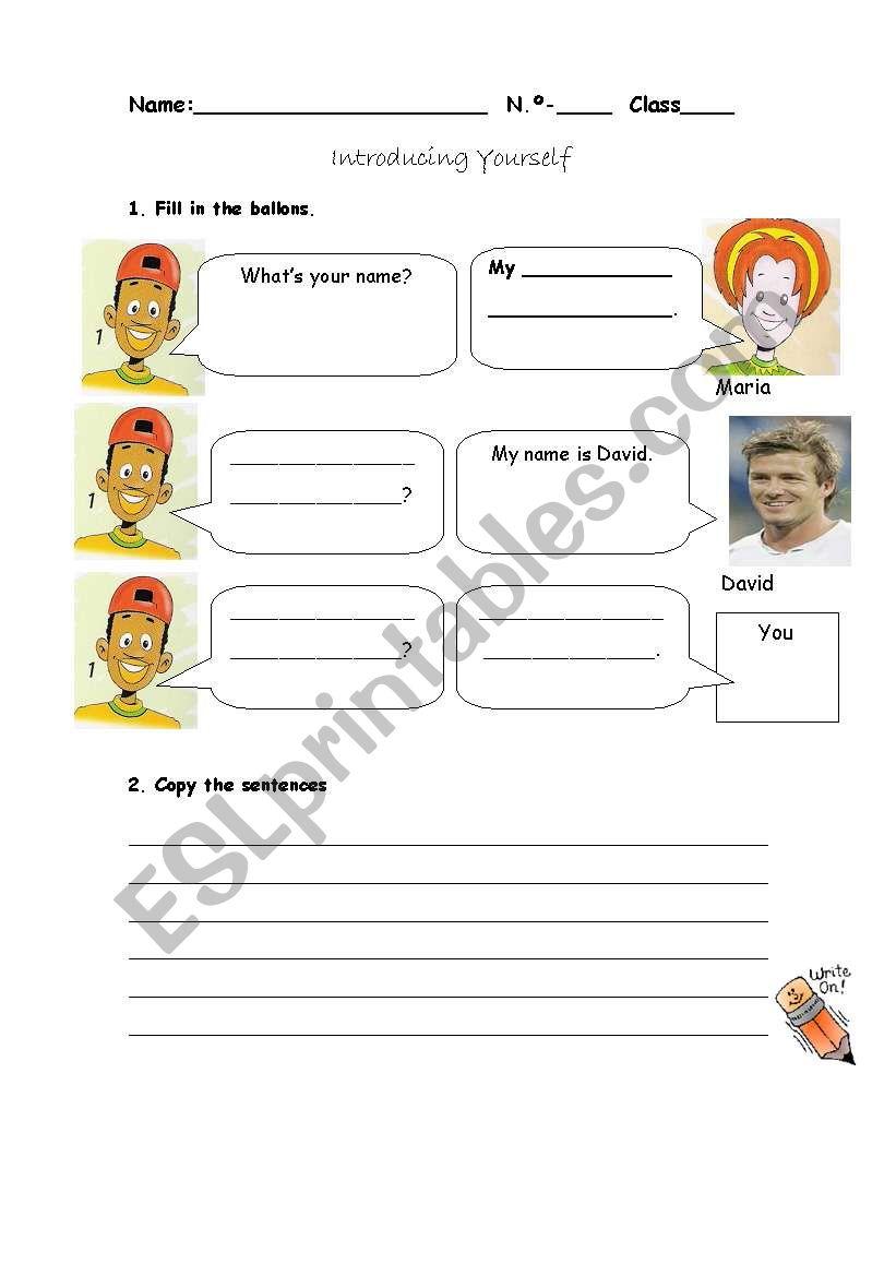 Introducing youself worksheet