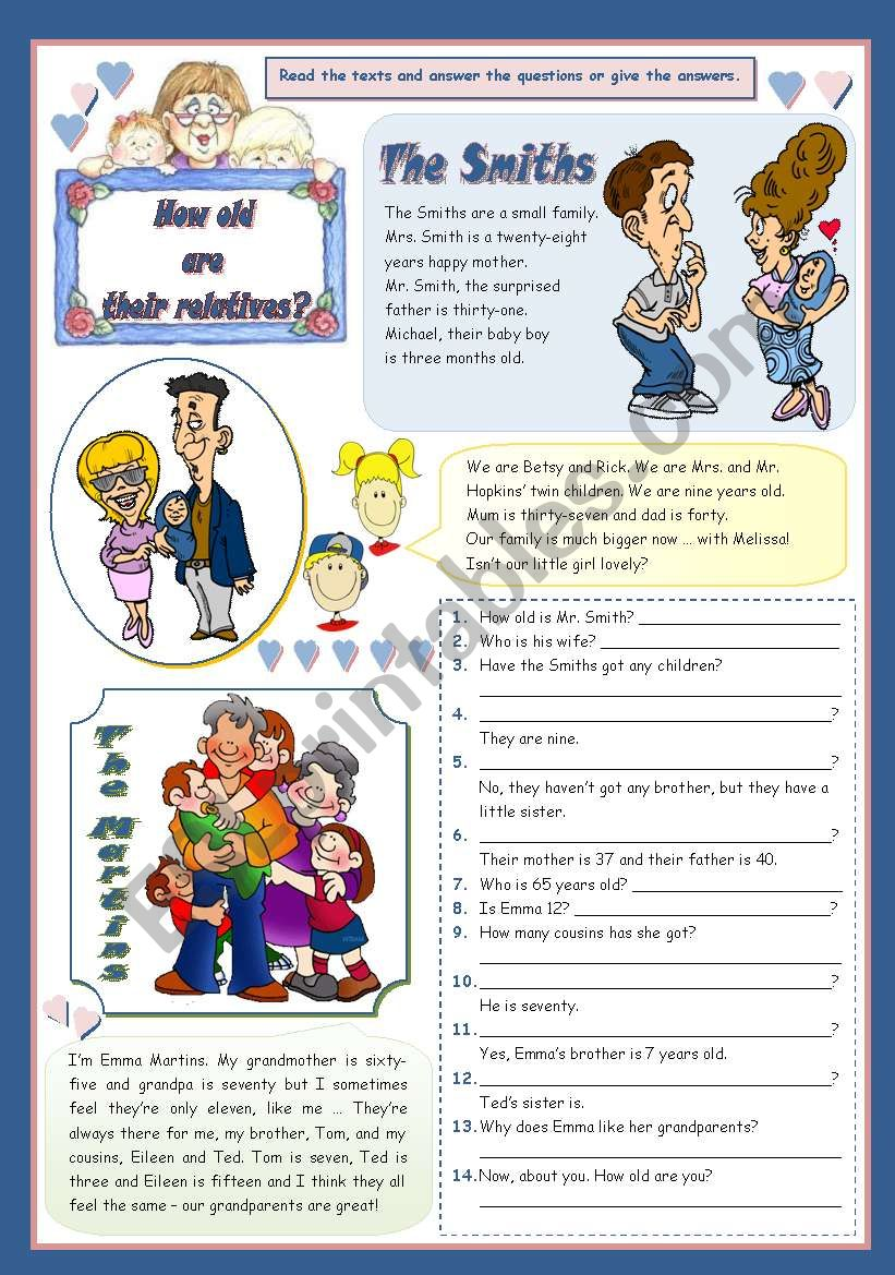 HOW OLD ARE THEIR RELATIVES? worksheet