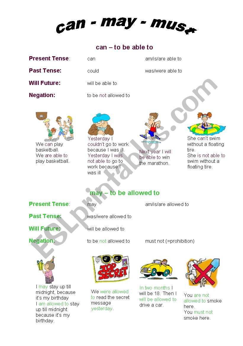 English Worksheets Can May Must Revised Version