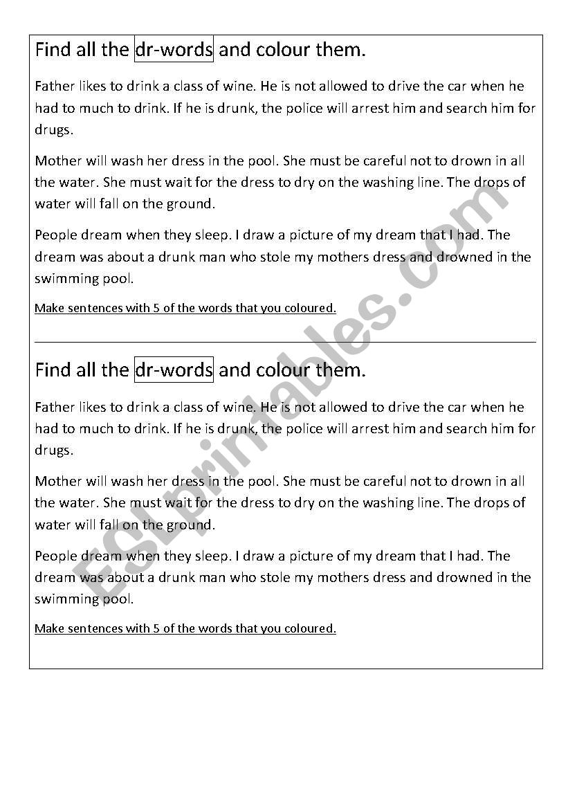 English worksheets: Find all the dr-words- English Phonics