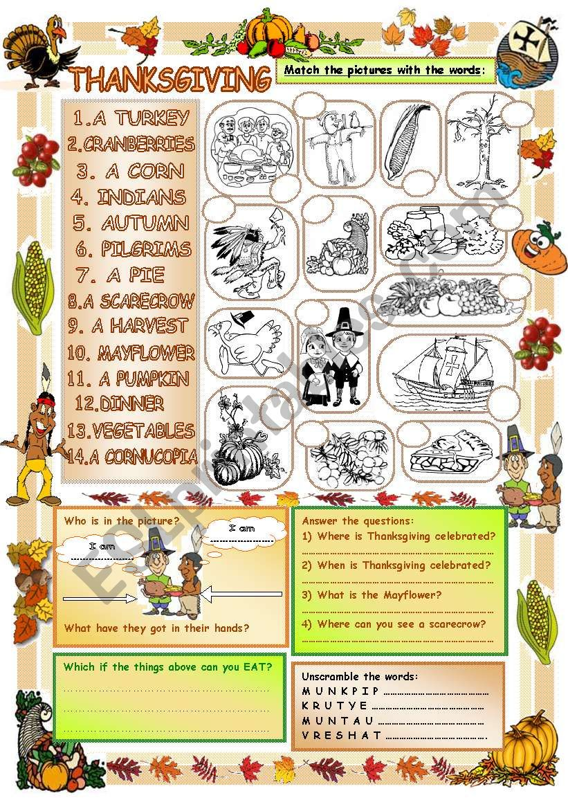Elementary Vocabulary Series17 - Thanksgiving