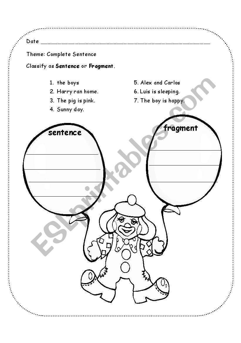 english worksheets  sentence fragment clown
