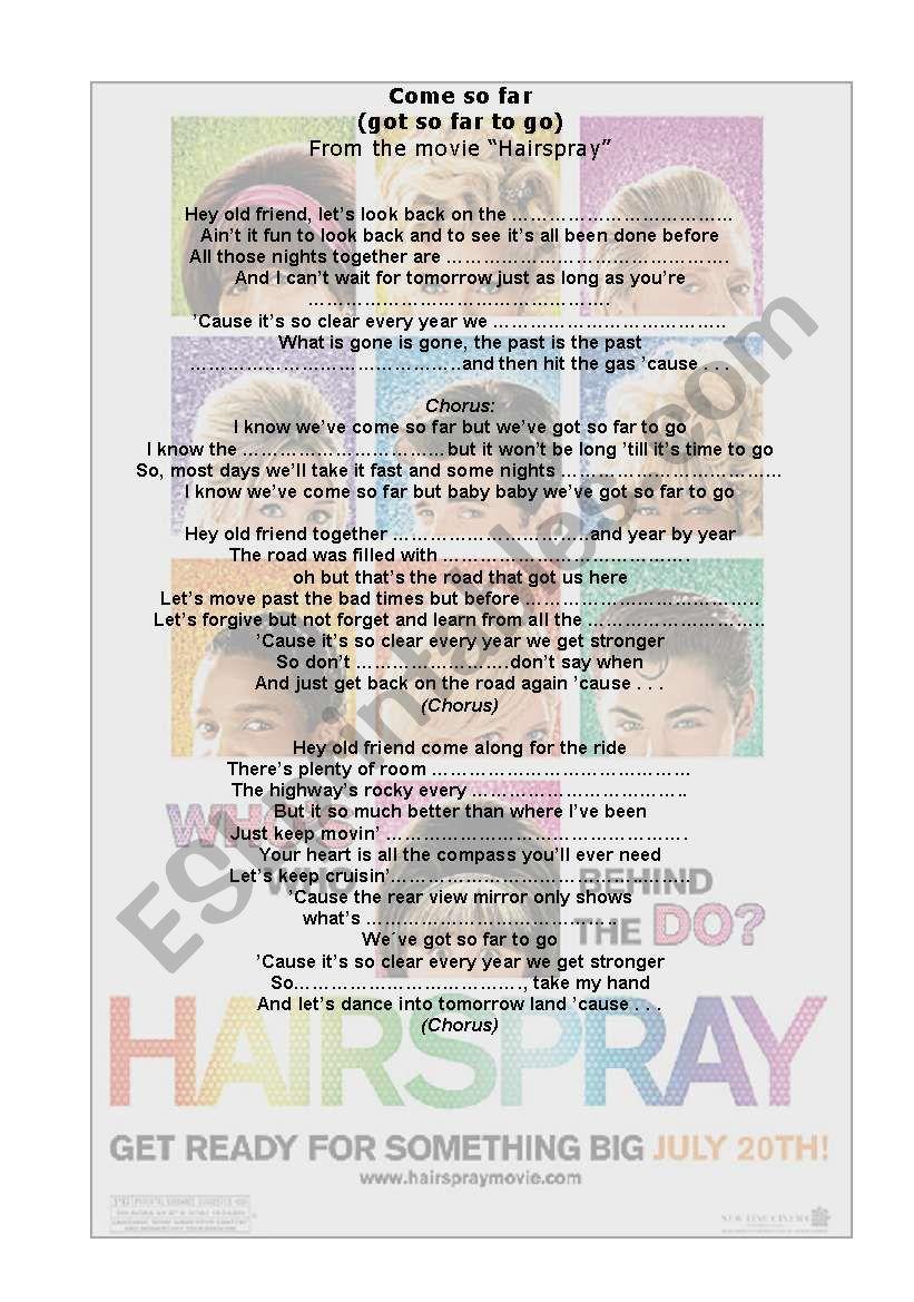 HAIRSPRAY worksheet