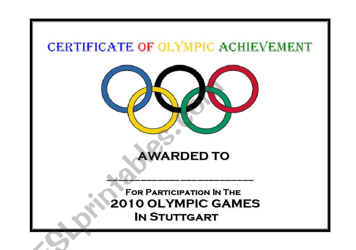 English worksheets: Certificate of Olympic Achievement