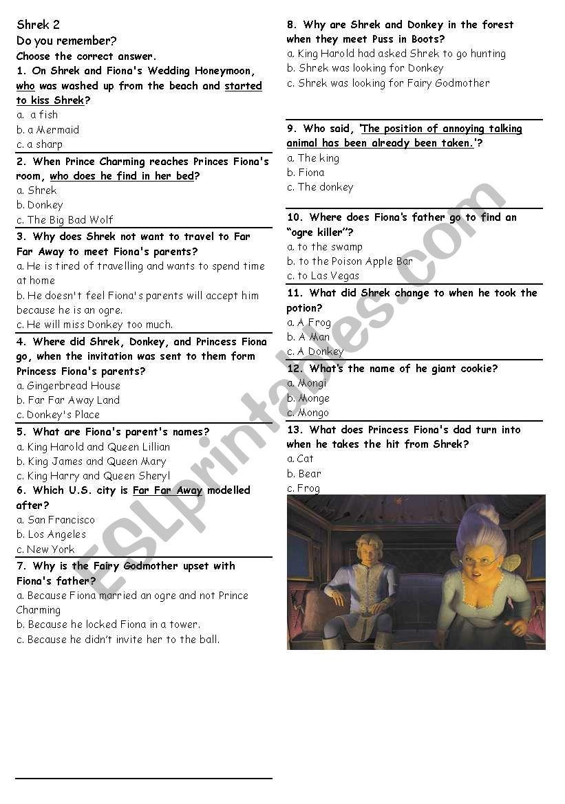 Shrek 2 Multiple choice questions