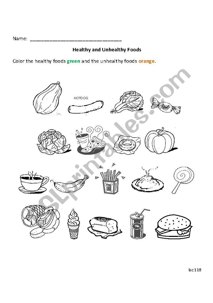 English Worksheets Healthy And Unhealthy Foods