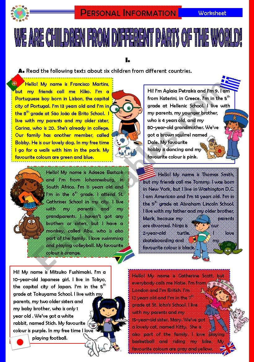 We are children from different parts of the World! (5 pages + Answer Key)