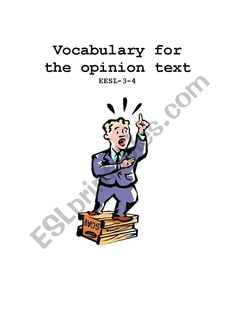 Vocabulary for the opinion text