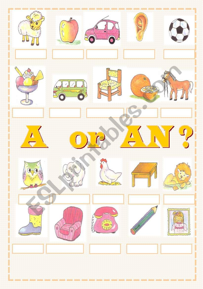 A or AN ? worksheet