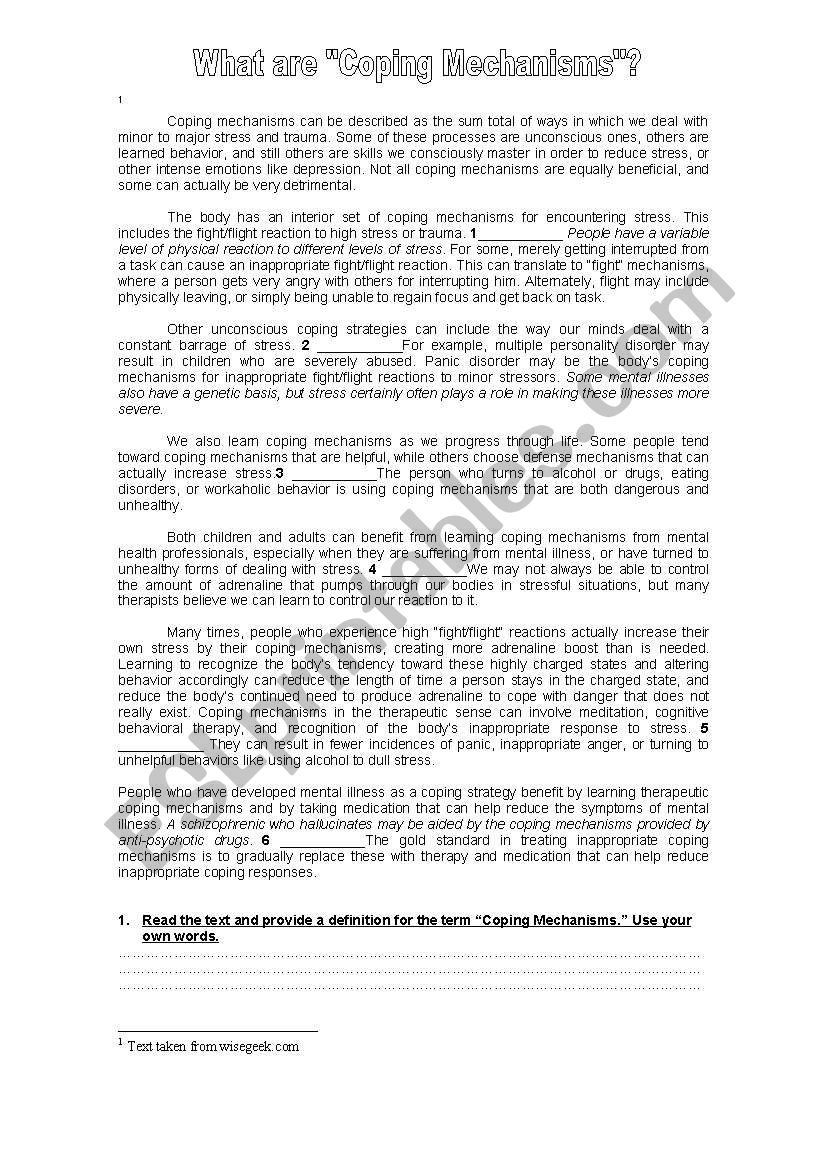 The Mind Coping Mechanisms Esl Worksheet By Euyi