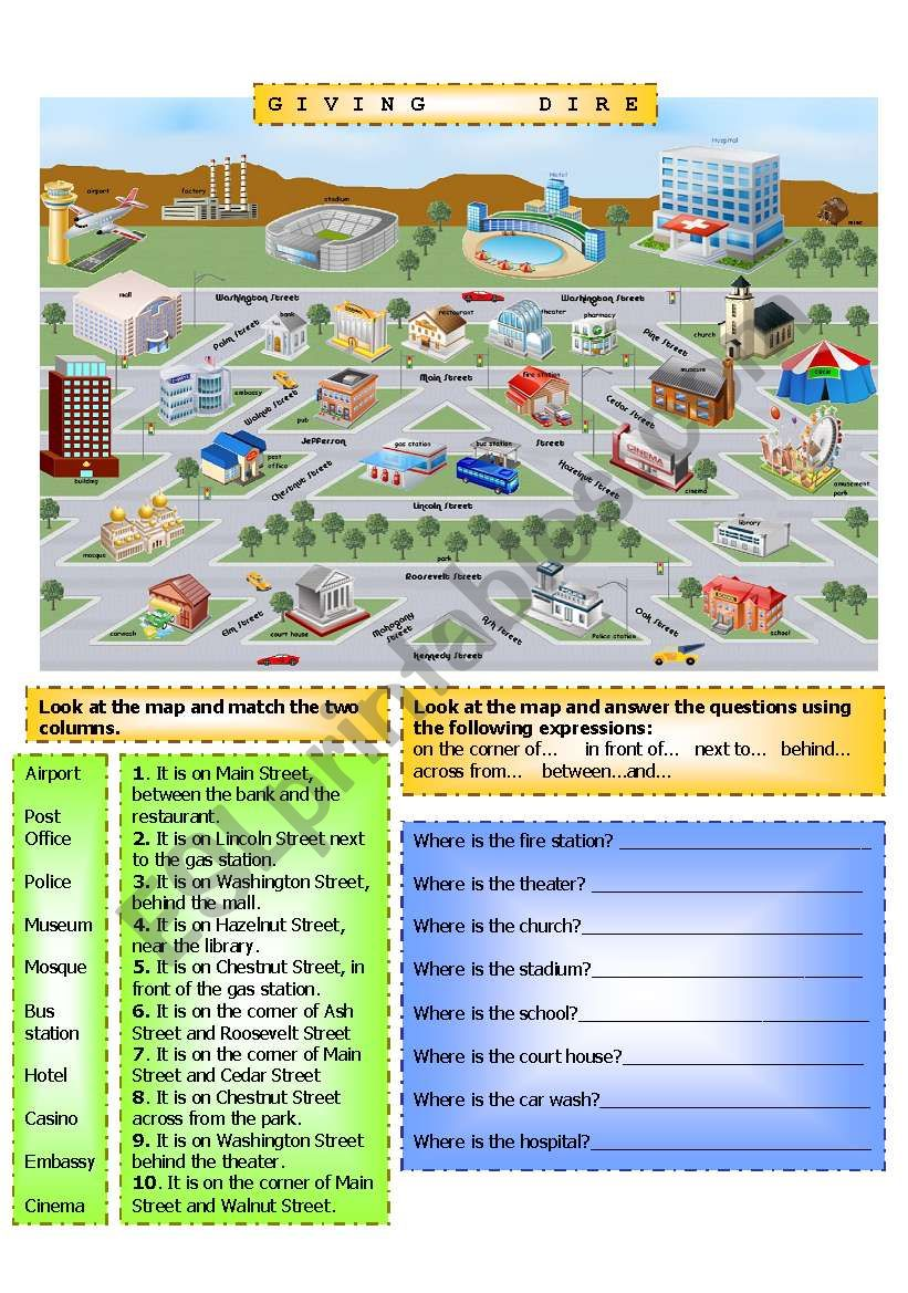 Town Map, Giving directions worksheet