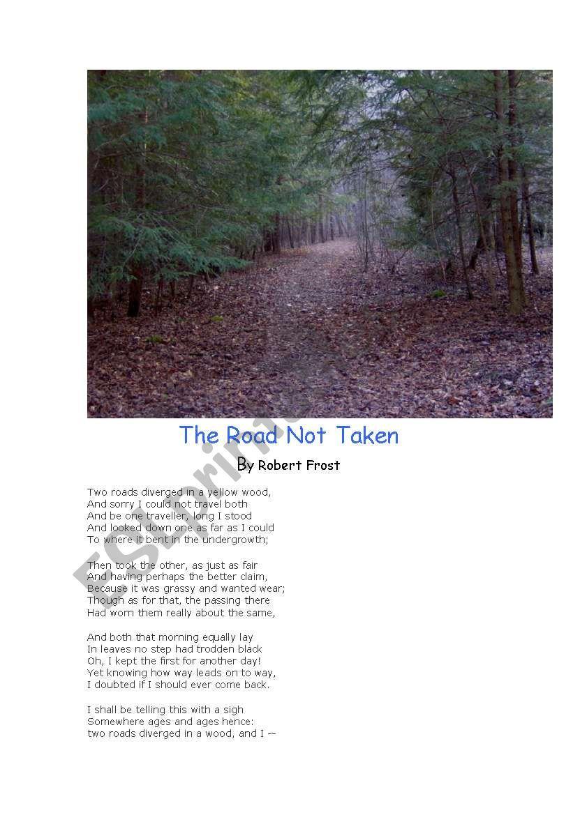 poetry the road not taken esl worksheet by dmccole. Black Bedroom Furniture Sets. Home Design Ideas